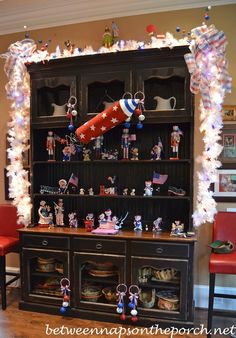 Kitchen Hutch Decorated for 4th of July