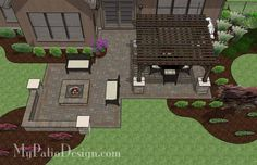 Fun Fire Pit Patio Design with Pergola | 560 sq ft | Download Installation Plan, How-to's and Material List @Mypatiodesign.com