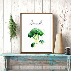 Kitchen Wall Art, Broccoli, Food Painting, Watercolor Print, Cook Printable, Restaurant Decor, Kitchen Decor, Vegetables Prints, Veggies