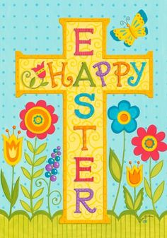 Happy Easter Religious Cross Tulip House Flag 28 x 40