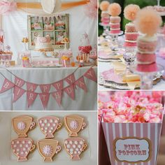"""I am a planner by nature and knew the day after my daughter's first birthday that I wanted to do a teacups and tutu theme using soft pinks and oranges for her second,"" says Johanna Saucier, mom to 2-year-old Presley. ""I incorporated teacups in the cake balls and printables and in real teacups purchased from the flea market and used for floral arrangements,"" she continues. ""I also wanted subtle and sweet touches of tulle, including the pom garland, tutus for each little girl, and tulle wands..."