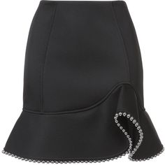 Alexander Wang studded trim ruffled skirt ($645) ❤ liked on Polyvore featuring skirts, mini skirts, black, frilly skirt, frilled skirt, fitted skirt, ruffle hem skirt and ruffle mini skirt