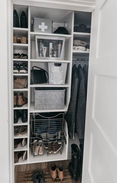 Tips to maximize storage in entry way closet organization for a family- these wire baskets are a great alternative to drawers for kids! Entry Closet Organization, Diy Organization, Closet Drawers, Storage Drawers, Shoe Cubby, Basket Drawers, Master Bedroom Closet, Kid Closet, Wire Baskets
