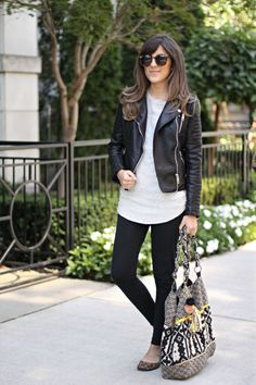 casual/weekend Fall outfit: black motorcycle jacket + ivory tunic + black leggings + leopard flats