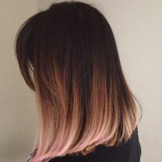 short ombre with pink tips.