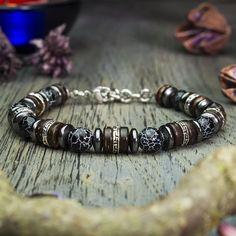 Mens bracelet Hematite Tibetan style Spider Web Agate natural stone wood creation hand made coconut/coconut beads Metal Beads, Stone Beads, Bracelets For Men, Beaded Bracelets, Leather Bracelets, Handmade Jewelry, Men's Briefcase, Leather Briefcase, Ornaments