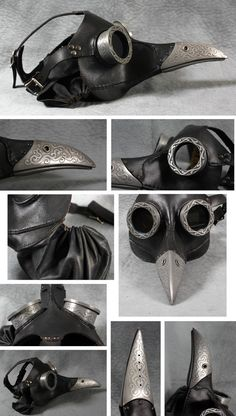 "Steampunk Plague Doctor Mask in black ""Ichabod"""