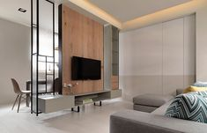 Living Room Partition, Living Room Divider, Living Room Shelves, New Living Room, Partition Design, Tv Wall Design, Asian Interior, Modern Home Interior Design, Living Room Tv Unit Designs