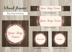 Etsy shop banner set, wood cover banner, etsy branding, pink watercolor flowers, vintage shop graphic, floral wreath banner, lavender banner by GiuliaBelfioriGadget