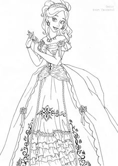 Giselle deluxe gown lineart by LadyAmber on DeviantArt Cinderella Coloring Pages, Lds Coloring Pages, Coloring Book Art, Cartoon Coloring Pages, Disney Coloring Pages, Animal Coloring Pages, Free Printable Coloring Pages, Coloring For Kids, Coloring Sheets