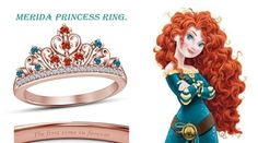 Rd Multi-Color Stone Disney Merida Princess Crown Wedding Ring in 14K Rose Gold #affordablebridaljewelry #PrincessCrownRing #WeddingAnniversaryEngagement