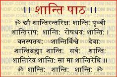 Shanti(peace) Mantra / path in Hindi Sanskrit Quotes, Sanskrit Mantra, Vedic Mantras, Yoga Mantras, Hindu Mantras, Sanskrit Words, Lord Shiva Mantra, Krishna Mantra, Krishna Quotes