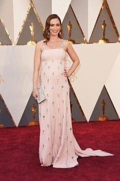 Emily Blunt in a Prada dress and Judith Leiber bag