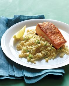 Fast-cooking whole-grain bulgur is a nice break from potatoes, rice, or pasta. When buying fish fillets, choose ones that are translucent, firm, and fresh-smelling.