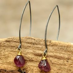 Freeform cabochon Ruby with brass wire wrapped earrings and oxidized sterling hooks