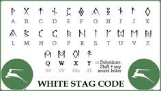 White Stag Script, a different code for Webelos Communicator activity pin.