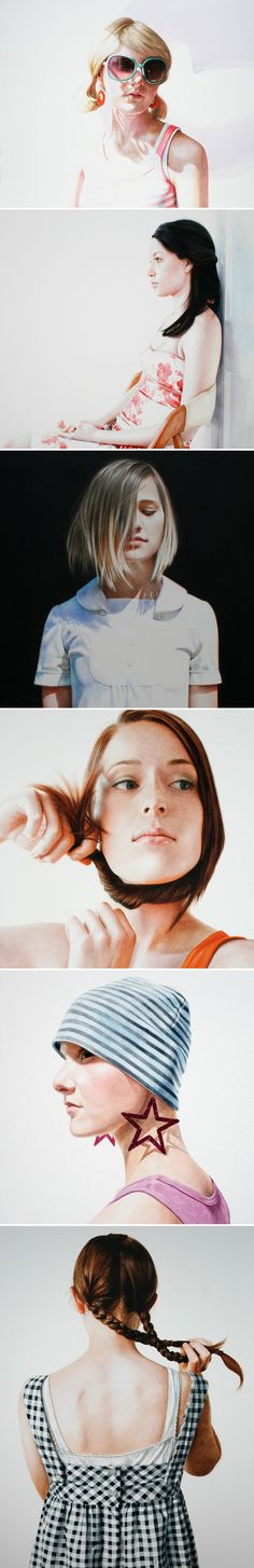 Artist: Ali Cavanaugh, watercolor; St. Louis, Missouri {contemporary figurative female heads women face portraits painting frescos} alicavanaugh.com