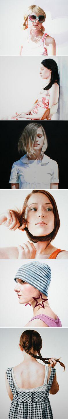 Artist: Ali Cavanaugh, watercolor; St. Louis, Missouri {contemporary figurative female heads women face portraits painting frescos} alicavanaugh.com