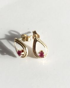 Ruby  earrings, vintage, dainty solid 14k yellow gold, genuine ruby, July birthstone by LelaBellaDesigns on Etsy