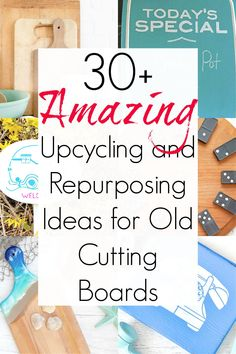 Cutting boards and wooden bread boards are plentiful at thrift stores and yard sales, and they are positively PERFECT for upcycling into something completely new. Think of them as blank canvases for any number of cutting board ideas. So, start here if you need some inspiration! #cuttingboards #Cuttingboardcrafts #Cuttingboardideas #Upcycledcuttingboards #repurposedcuttingboards #breadboards #breadboardideas #upcycledcrafts #upcyclingideas Thrift Shop Finds, Thrift Stores, Upcycling Projects, Repurposing, Wooden Bread Board, Diy Ideas, Craft Ideas, Yard Sales, Simple Rules