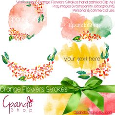 Watercolor strokes and flowers (4 png Images 300dpi) watercolor strokes clipart, watercolor clipart, floral clip art, floral watercolor