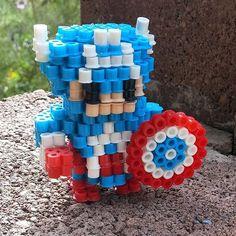 3D Captain America perler beads by perler_magic_geek