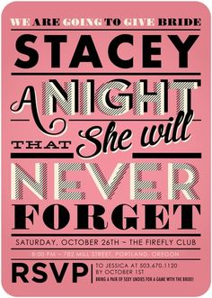 Unforgettable Night - Signature White Bachelorette Party Invitations - Elk Design - Watermelon - Pink : Front