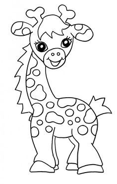 Girl Cute Giraffe Coloring Pages