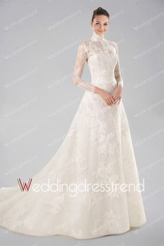 Modest Sweep High Neck Lace Princess Wedding Dress