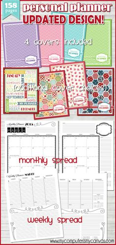 Awesome Printable Planner... perfect for busy women and moms with tons to juggle.  Weekly, monthly layouts + extras. #mycomputerismycanvas