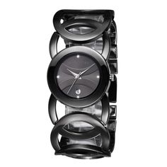 [$11.98] JIANGYUYAN 3808 Fashionable and Elegant Resinstone Scale Quartz Wrist Watch with Hollowed-out Alloy Band and Jewelry Bracelet Clasp for Women(Black Case + Black Window)