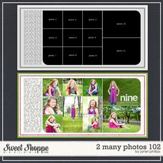 Sweet Shoppe Designs :: Templates & Tools :: Layout Templates :: 2 Many Photos 102 by Janet Phillips