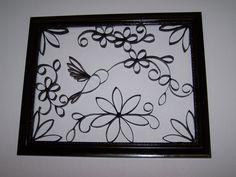 Toilet paper roll art. Hummingbird.