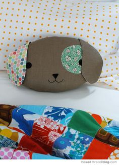 Children love cuddling up to a special pillow at home or in the car, and this cute puppy with his floppy ears and an eye patch could easily become a new favourite. Come on over to the blog for the sewing pattern and tutorial...