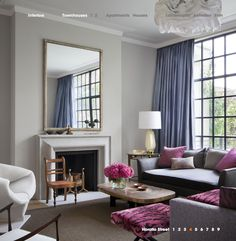 I love this color palette: soft gray, periwinkle blue, and fushia.    My Notting Hill: Final Eye Candy: 2012