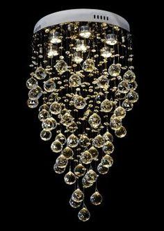 Lustre Cristal LED Base Redonda Ø40cm - intercalado - ligado grande