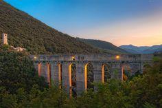 Medieval Bridge and Aqueduct, Ponte Delle Torri, Spoleto, Umbria, Italy
