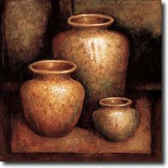 Stretched Canvas Print: Ancient Treasures by Zenon Burdy : Pottery Painting, Pottery Art, African Art Paintings, Hyper Realistic Paintings, Art Pictures, Photos, Painting Still Life, Painting Edges, Stretched Canvas Prints