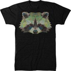 Trunk Candy Me's Geometric Animal Raccoon Premium Tri-blend T-shirt (X-Large, Black)