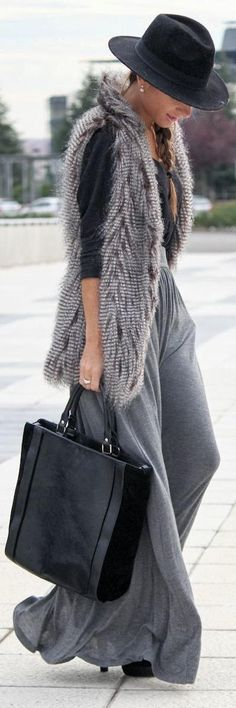 LONG GREY skirt converted to winter wear!!! Im a sucker for vests too!!! Looooove this!!!