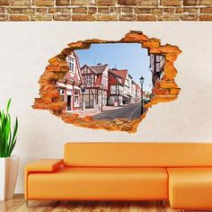 3D Broken Wall Building Window Removable Vinyl Decal Art Sticker Mural Home Decor - shechoic.com
