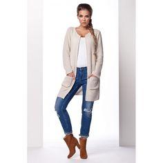 Cardigan dama cu lungime medie si maneci lungi bej #cardiganpesterochie Cardigan, Duster Coat, Sweaters, Jackets, Fashion, Tricot, Down Jackets, Moda, Fashion Styles