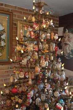 Figural glass ornaments on Golden Glow of Christmas Past members Steve and Dottie Wilt's feather tree