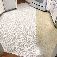 tiles Patterns Laminate floor makeover ideas on a budget using easy-to-use DIY tile stencil patterns from Cutting Edge Stencils Painting Laminate Floors, Painted Floors, Laminate Tile Flooring, Painted Tiles, Wood Laminate, Diy Flooring, Kitchen Flooring, Concrete Kitchen, Diy Tuiles