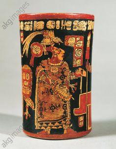 Maya civilization. Cylindrical vase with hieroglyphic text and dignitary. From Tikal. Guatemala City, Museo Nacional De Arqueología E Historia