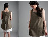 Linen Apron - green Apron, Tunic with Pockets
