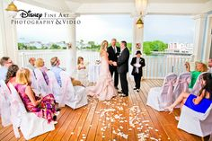 Intimate ceremony at The Attic in the BoardWalk Resort overlooking the water and Disney's BoardWalk