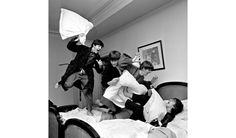 A detail from Harry Benson's shot of the Beatles pillow-fighting