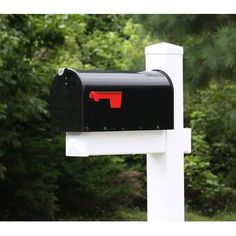 4EverProducts Mailbox with Post Included & Reviews | Wayfair Black Mailbox, Mailbox Post, Wall Mount Mailbox, Mounted Mailbox, Post Box Wall Mounted, Mailing Packages, Wood Anchor, Architectural Mailboxes, Whitehall Products