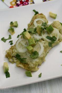 Chicken Enchiladas in Creamy Avocado Sauce